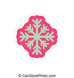 paper sticker on white background Christmas snowflake