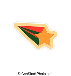 paper sticker on white background Christmas star