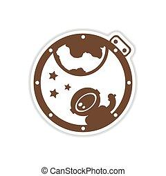 paper sticker on white background cosmonaut