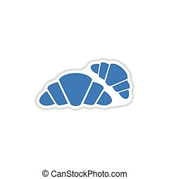 paper sticker on white background croissants