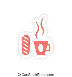 paper sticker on white background cup of coffee