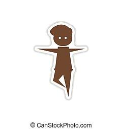 paper sticker on white background dancer