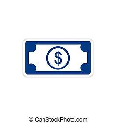 paper sticker on white background dollar