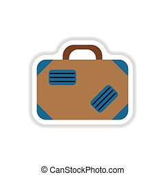 paper sticker on white background suitcase