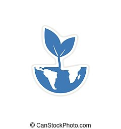 paper sticker on white background Earth plant