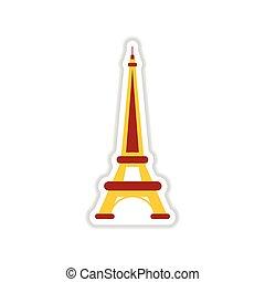 paper sticker on white background Eiffel Tower