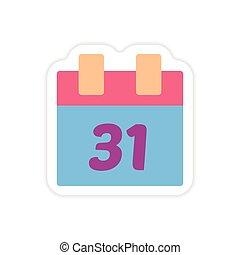 paper sticker on white background calendar December 31