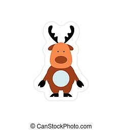 paper sticker on white background Santa's reindeer