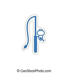 paper sticker on white background fishing rod