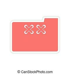 paper sticker on white background folder