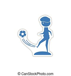 paper sticker on white background football player