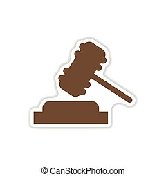 paper sticker on white background gavel