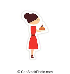 paper sticker on white background girl with cake