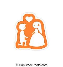 paper sticker on white background groom on knees bride