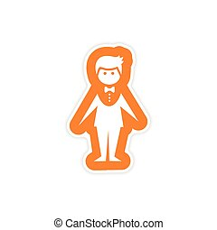 paper sticker on white background groom suit