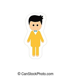 paper sticker on white background groom young