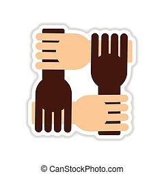 paper sticker on white background hands