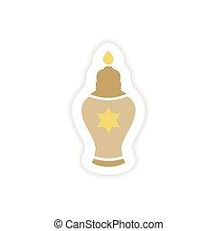 paper sticker on white background Hanukkah candles