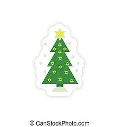 paper sticker on white background Hanukkah tree - paper...