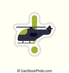 paper sticker on white background helicopter