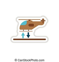 paper sticker on white background Helicopter landing