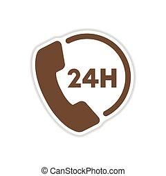 paper sticker on white background hotline