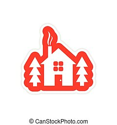 paper sticker on white background house in forest