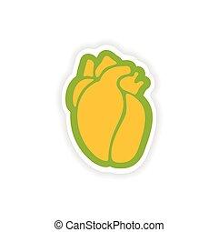 paper sticker on white background human heart