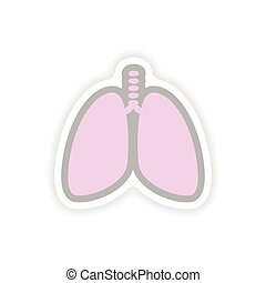 paper sticker on white background human lungs