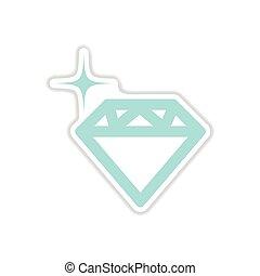 paper sticker on white background diamond