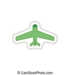 paper sticker on white background airplane