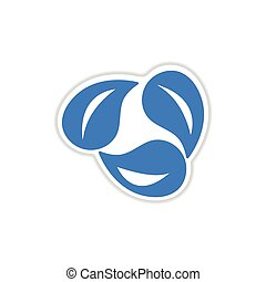 paper sticker on white background leaves