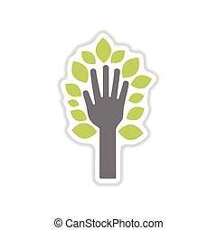 paper sticker on white background leaves hand