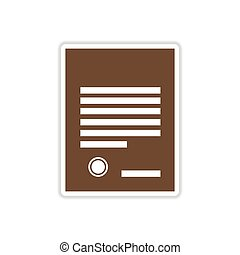 paper sticker on white background legal document