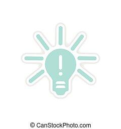 paper sticker on white background light bulb idea