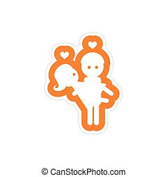 paper sticker on white background man carries Woman