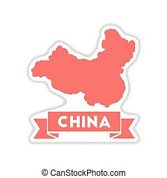 paper sticker on white background map of China
