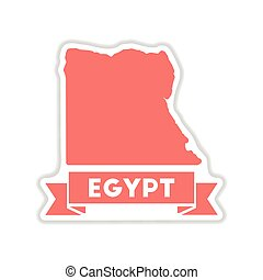 paper sticker on white background map of Egypt