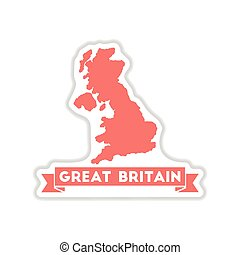 paper sticker on white background map of Great Britain