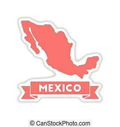 paper sticker on white background map of Mexico