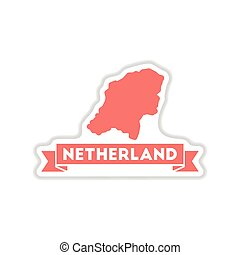 paper sticker on white background map of Netherlands