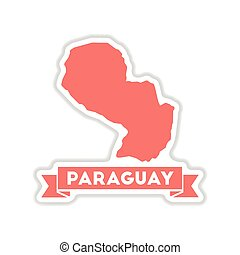 paper sticker on white background map of Paraguay