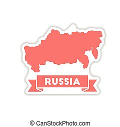 paper sticker on white background map of Russia