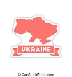 paper sticker on white background map of Ukraine