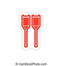 paper sticker on white background medical crutches