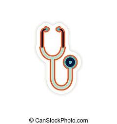 paper sticker on white background medical stethoscope