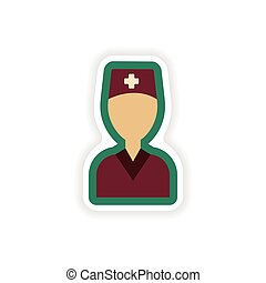 paper sticker on white background medical worker