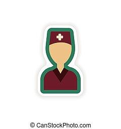 paper sticker on white background medical worker