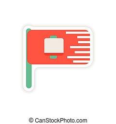 paper sticker on white background mobile battery flag