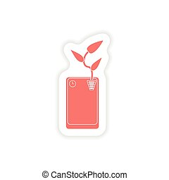 paper sticker on white background mobile phone plant